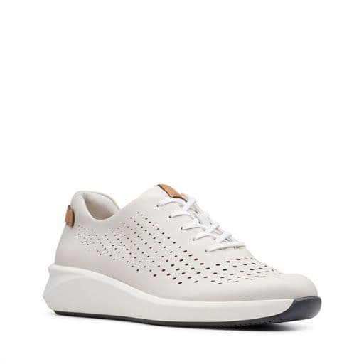 Clarks 'Un Rio Tie' Women's Trainers - White Leather D