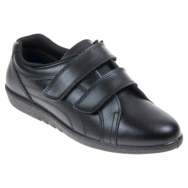 Comfort Plus Women's Leather Touch Close Shoes - Rex Black