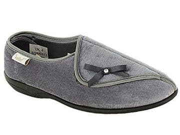 Dr Keller 'Leith' Ladies Touch Fasten Wide Fit Slippers - Grey