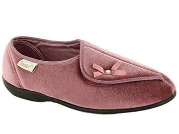 Dr Keller 'Leith' Ladies Touch Fasten Wide Fit Slippers - Pink