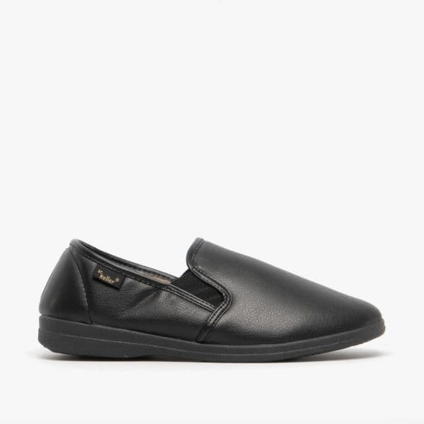 Dr Keller Men's Wide Fitting Faux Leather Slippers - Dr Christof Black