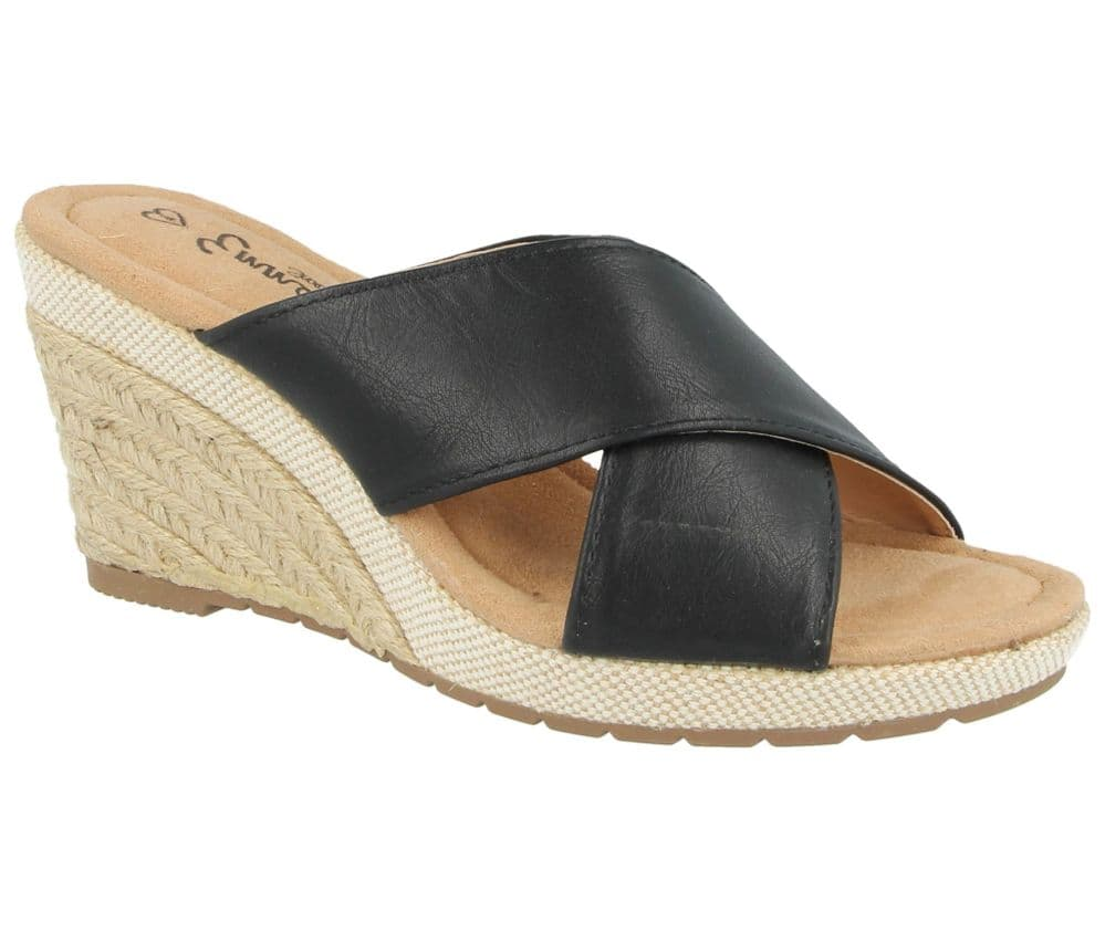 Emma 'Lime Bay' Womens Faux Leather Open Toe Wedge Sandals - Black