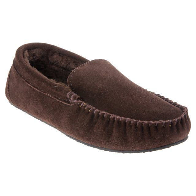 FreeStep Men's Real Suede Moccasin Slippers - Clark Brown