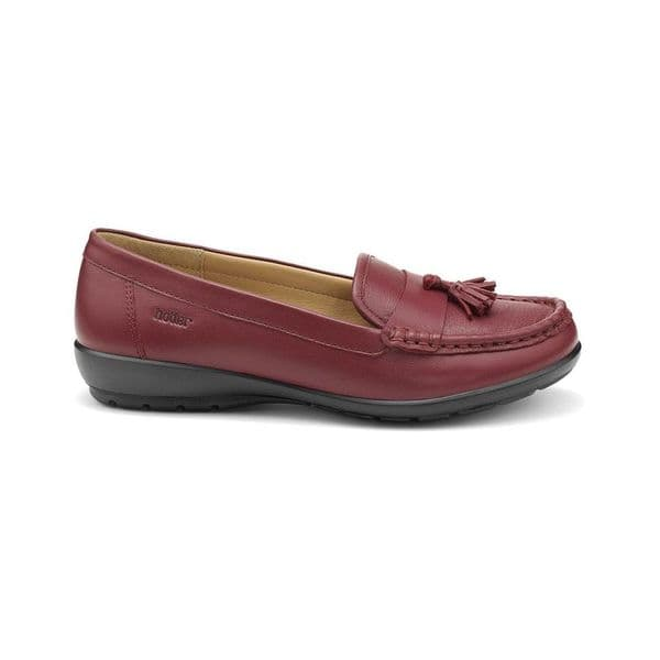 Hotter 'Abbeyville' Women's Moccasin Loafer Shoe - Ruby Leather STD