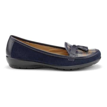 Hotter 'Alice' Women's Slip-on Shoe - Navy Check