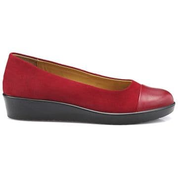 Hotter 'Angel' Women's Slip-on Shoe - Tango Red Suede Leather