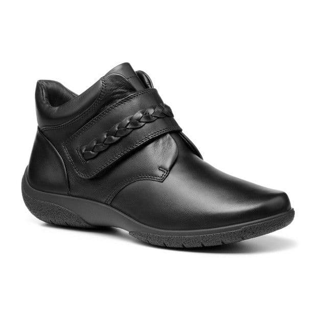 Hotter 'Daydream II' Women's Touch Close Wide Fitting Ankle Boots - Black Leather EXF