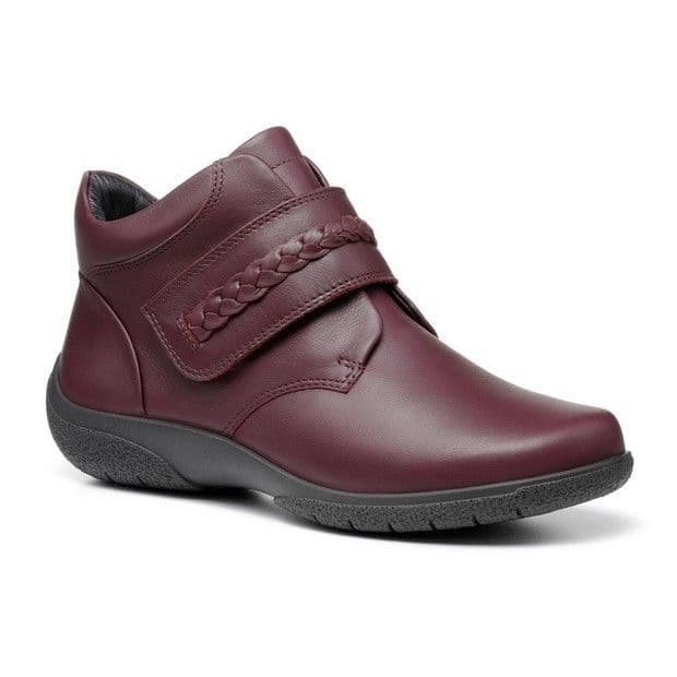 Hotter 'Daydream II' Women's Touch Close Wide Fitting Ankle Boots - Wine Leather EXF