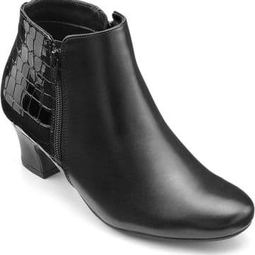 Hotter 'Delight' Women's Block Heeled Ankle Boots - Black/Black Croc STD