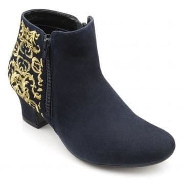 Hotter 'Delight' Women's Block Heeled Ankle Boots - Navy Regency STD