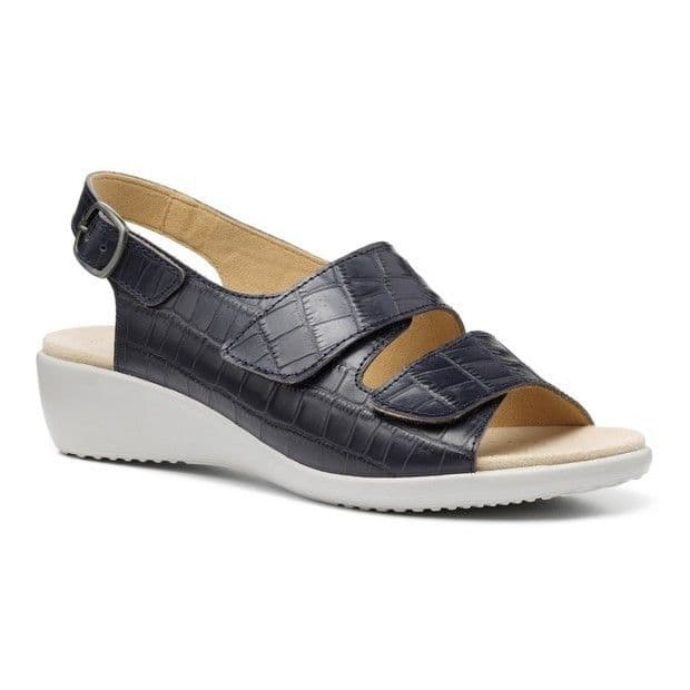 Hotter Easy II Women's Wide Fitting Sandal - Navy Croc Leather