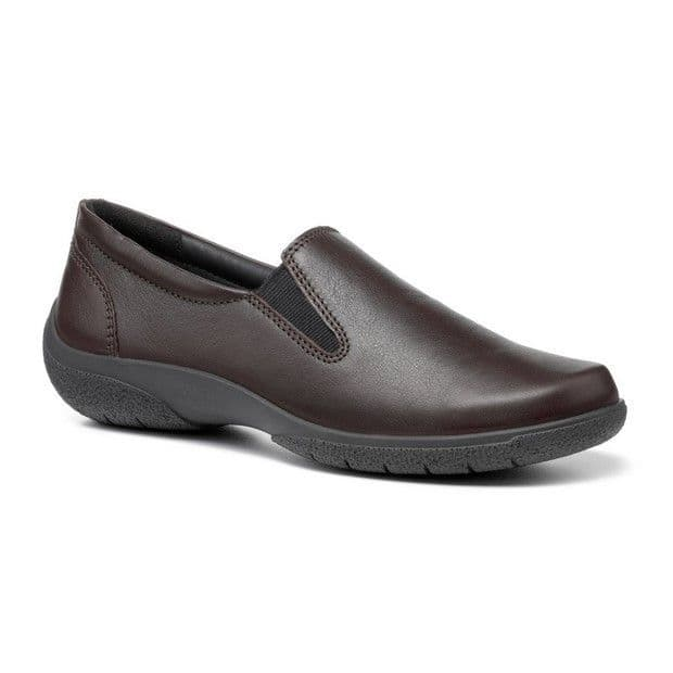 Hotter 'Glove' Women's Slip-on Comfort Shoes - Chocolate Leather STD