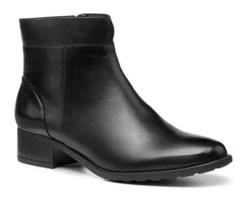 Hotter 'Hamilton' Women's Stylish Heeled Ankle Boot - Black Leather STD