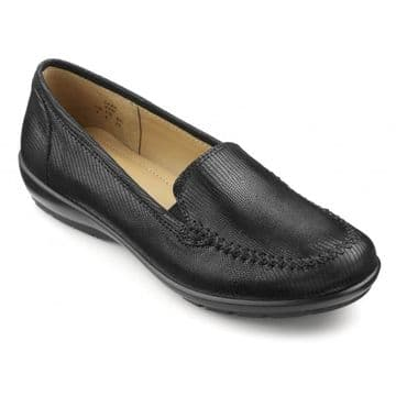 Hotter 'Jazz' Women's Slip-on Shoe - Black Lizard Leather STD