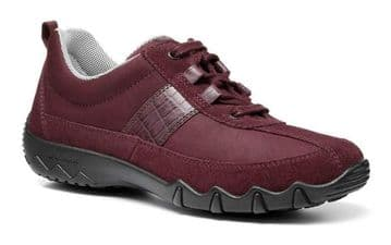 Hotter 'Leanne' Women's Active Shoe - Wine Multi Nubuck/Suede STD