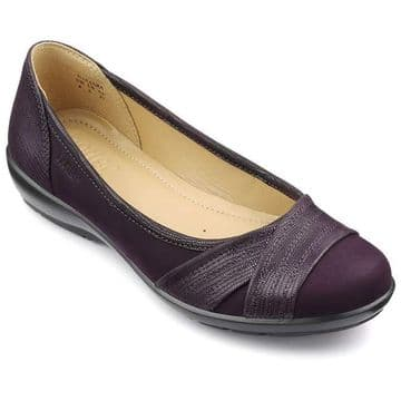 Hotter 'Natasha' Women's Ballerina Pump Shoe - Plum Lizard STD