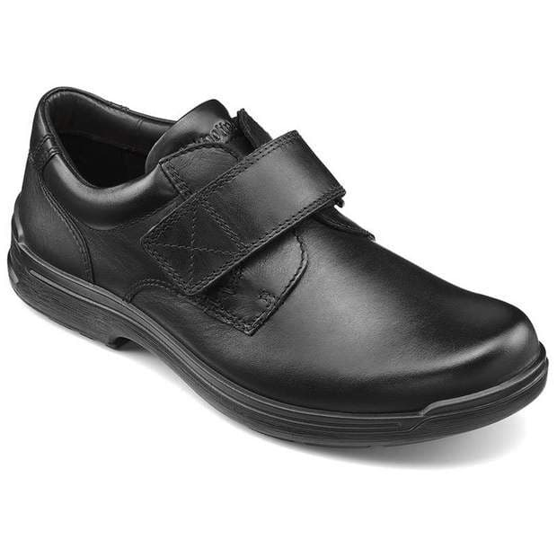 Hotter 'Sedgwick' Men's Touch Fastening Shoe - Black Leather