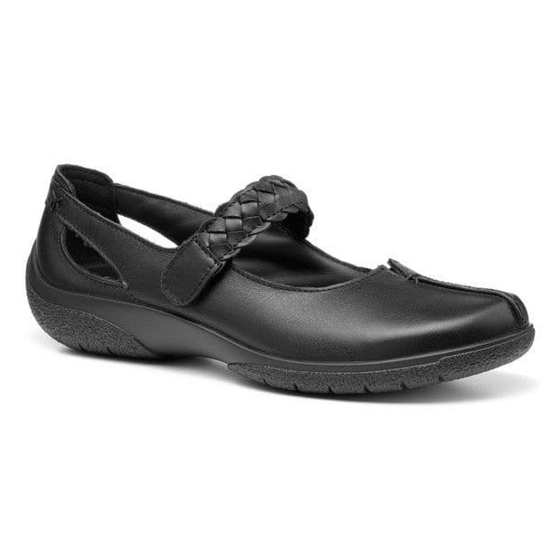 Hotter Shake Women's Touch Close Shoe - Black Leather