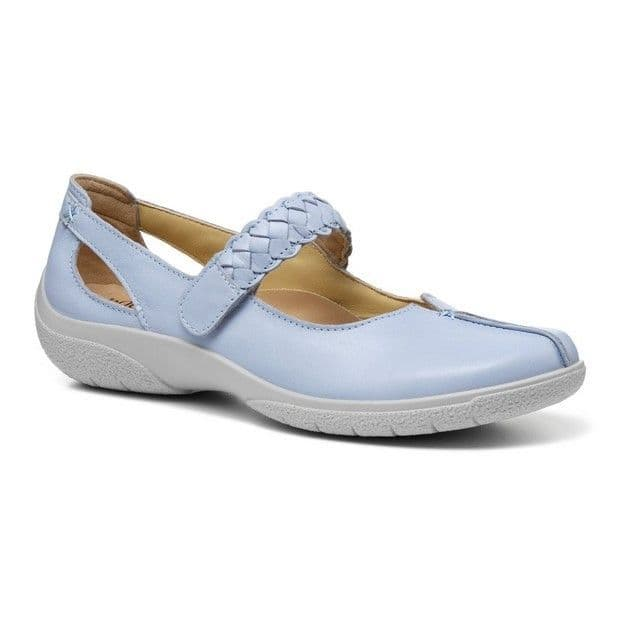 Hotter Shake Women's Touch Close Shoe - Powder Blue Leather