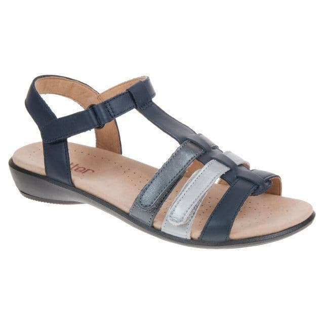 Hotter 'Sol' Women's Sandals - Rich Navy Multi Leather