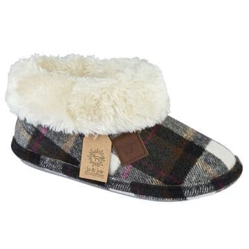 Jo & Joe 'Glenroyal' Women's Bootie Slippers - Dark Grey Tartan