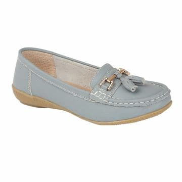 Jo & Joe 'Nautical' Women's Slip On Leather Loafers Moccasins Shoes - Baby Blue
