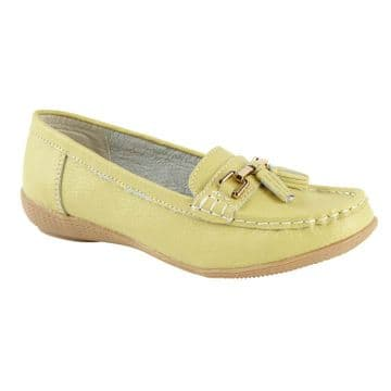 Jo & Joe 'Nautical' Women's Slip On Leather Loafers Moccasins Shoes - Lime