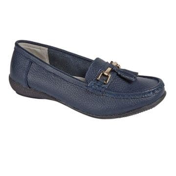 Jo & Joe 'Nautical' Women's Slip On Leather Loafers Moccasins Shoes - Navy
