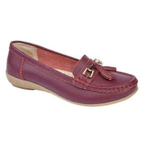 Jo & Joe 'Nautical' Women's Slip On Leather Loafers Moccasins Shoes - Plum