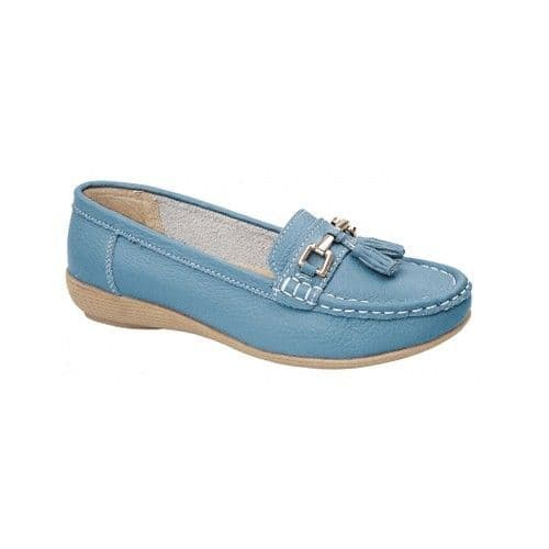 Jo & Joe 'Nautical' Women's Slip On Leather Loafers Moccasins Shoes - Teal