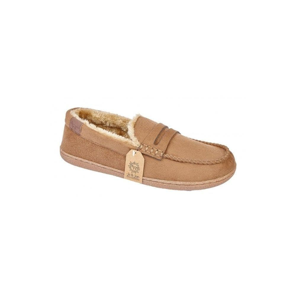 Jo & Joe 'New Hampshire' Men's Faux Suede Moccasin Slippers - Cognac