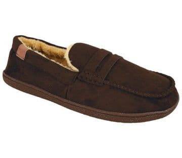 Jo & Joe 'New Hampshire' Men's Faux Suede Moccasin Slippers - Dark Brown