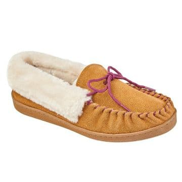 Jo & Joe 'Orkney' Women's Moccasin Slipper - Cognac