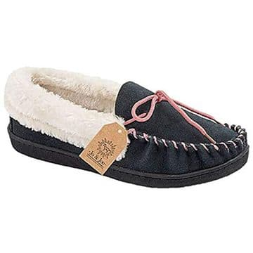 Jo & Joe 'Orkney' Women's Moccasin Slipper - Navy