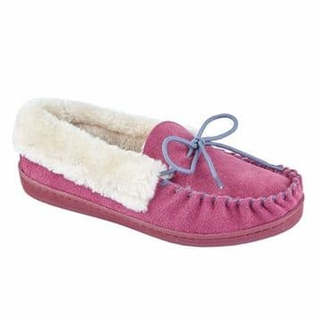 Jo & Joe 'Orkney' Women's Moccasin Slipper - Pink