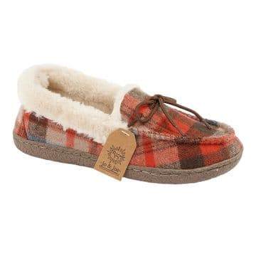 Jo & Joe 'Pembroke' Women's Moccasin Slipper - Brown Tartan