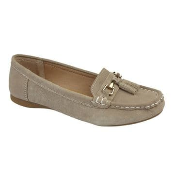 Jo & Joe 'Shoreside' Women's Casual Suede Leather Loafers - Taupe