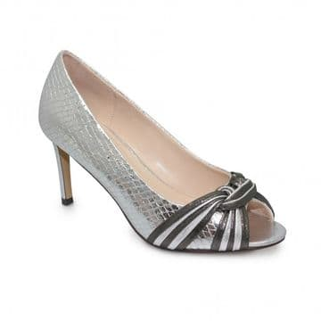 Lunar 'Bryce' Women's Peep Toe Dress Heel Shoe - Silver