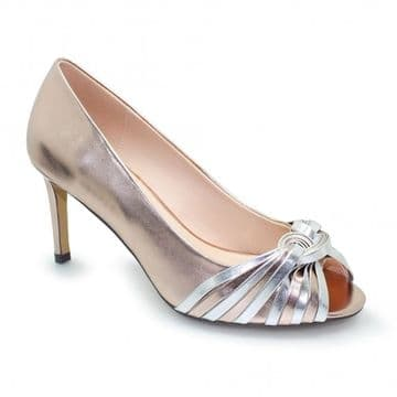 Lunar 'Bryce' Women's Peep Toe Dress Heel Shoe - Taupe