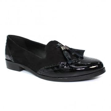 Lunar 'Cortona' Women's Patent Tassel Loafer Shoe - Black