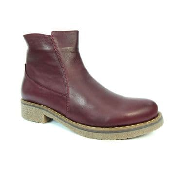 Lunar 'Henni' Women's Leather Ankle Boots - Burgundy