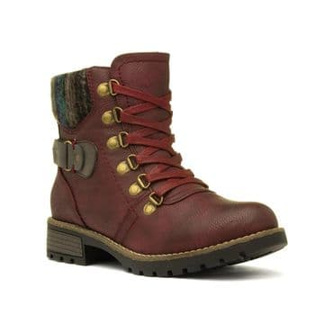 Lunar 'Marilyn' Women's Ankle Boots - Burgundy