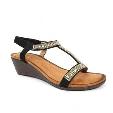 Lunar 'Tabitha' Women's Wedged 'T' Bar Sandal - Black