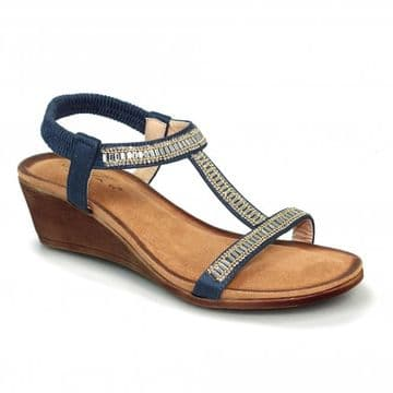 Lunar 'Tabitha' Women's Wedged 'T' Bar Sandal - Navy
