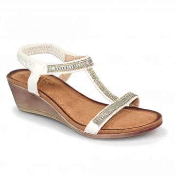 Lunar 'Tabitha' Women's Wedged 'T' Bar Sandal - White