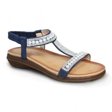 Lunar 'Tancy' Women's 'T' Bar Pearl Sandal - Blue