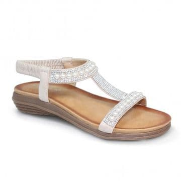 Lunar 'Tancy' Women's 'T' Bar Pearl Sandal - White