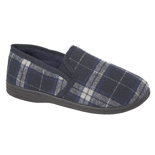 Shoe Tree 'Fife' Men's Slippers - Navy/Grey