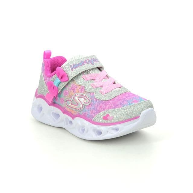 Skechers Girls Flashing Trainers - Untamed Hearts Silver/Hot Pink