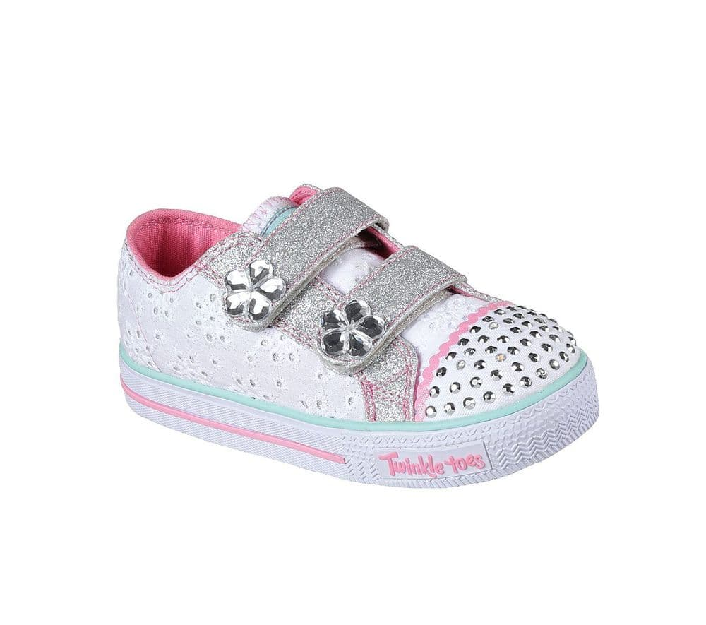 Skechers Petal Pop Girls Twinkle Toes Trainers - White